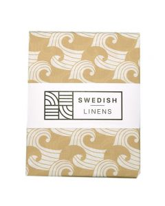 Swedish Linens | Een-persoons hoeslaken Waves | Warm Sand