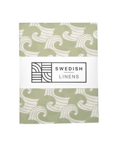 Swedish Linens | Een-persoons hoeslaken Waves | Sage